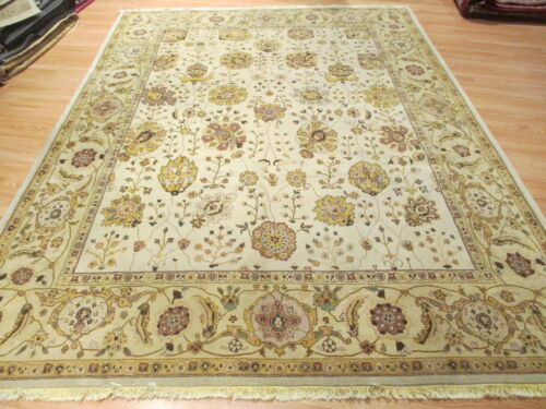 8x11 MUTED ALLOVER-PATTERN VEGETABLE DYE HANDMADE-KNOTTED WOOL RUG 581354