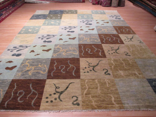 10x14 SUPER Contemporary Modern Vegetable Dye Handmade-knotted Wool Rug 580530