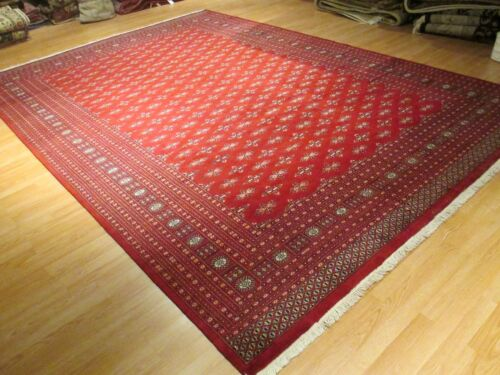 10x14 FINE BOKHARA GEOMETRIC ALLOVER-PATTERN HANDMADE-KNOTTED WOOL RUG 580274