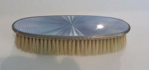 Antique Sterling Silver & Guilloche Enamel Long Clothes Brush