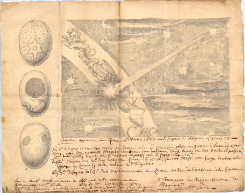1680 17th Century Italian Manuscript Drawing Comet over Rome Design of Engraving