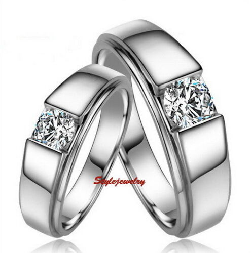 18k White Gold Plated Silver Color Men's Wedding Ring Wedding Band Size 12 R137