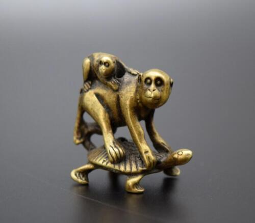 Chinese Pure brass Turtle back monkey small statue