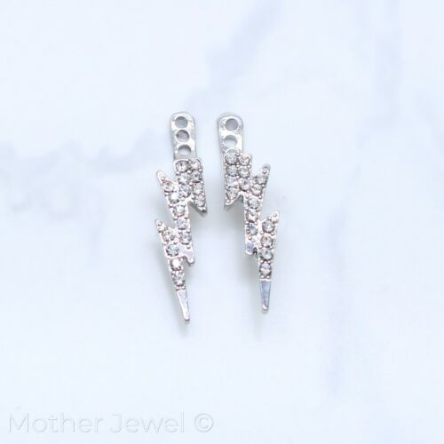 LIGHTING BOLT SIMULATED DIAMOND RHODIUM EARRING CARTILAGE JACKET ADD ON DANGLE