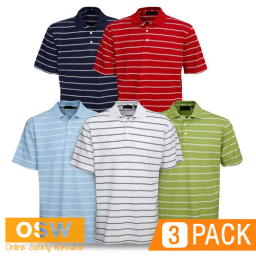3 X ADULTS MODERN FIT COTTON STRIPED OFFICE GOLF CASUAL BREATHABLE POLO SHIRTS