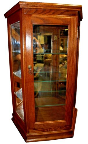 Vintage Tabletop Illuminated Curio Cabinet Display Case, w/ Three Glass Shelves