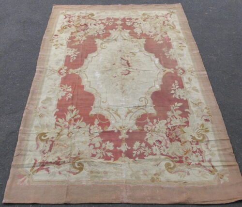 Antique French Aubusson rug 19thC wool tapestry weave 5.8x9.6 rose hand woven
