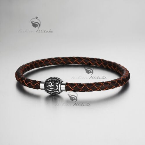 Silver rope chain brown chocolate hand weave leather bangle bracelet magnet M
