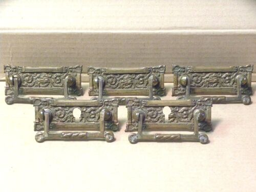 (5) ANTIQUE SOLID BRASS DRAWER PULLS / HANDLES - ORIGINAL SCREWS & NUTS INCLUDED