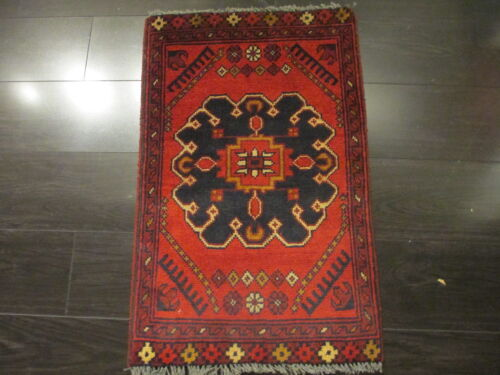 1x2 SUPER TRIBAL GEOMETRIC NATURAL VEGETABLE DYE HAND-KNOTTED WOOL RUG 581011