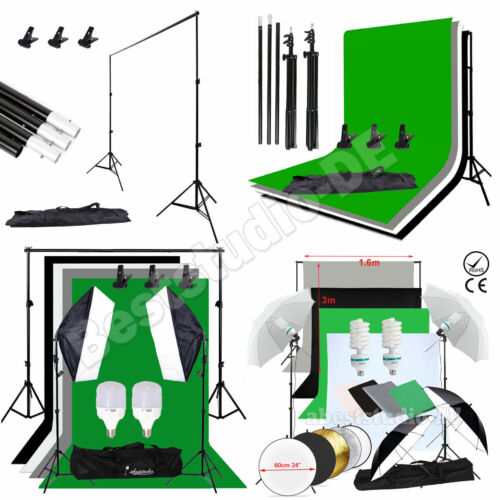 Photography Studio Screen Backdrop Background Support Stand Softbox Umbrella Kit