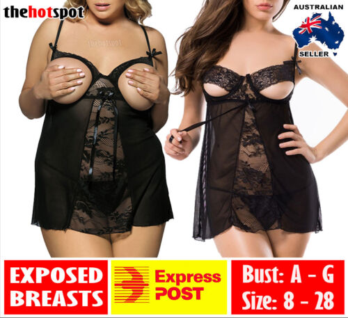 Sexy Open Cup Camisole Lingerie Plus Size Erotic Sheer + G-String FAST POST