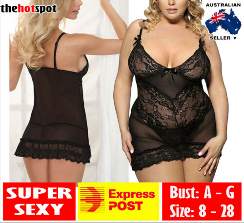 Sexy Lace Camisole Lingerie Small to Plus Size Erotic Sheer + G-String FAST POST