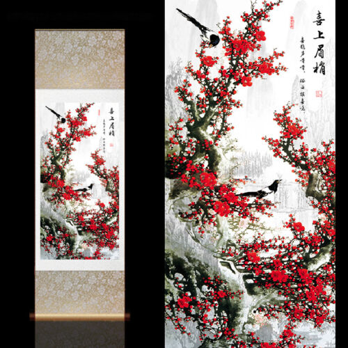 Chinese Silk Scroll Painting Home Office Decoration(喜鹊红梅图)
