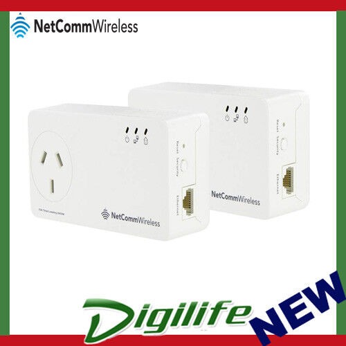 Netcomm NP1201 1.2Gbps Powerline Twin Pack with AC Pass-through