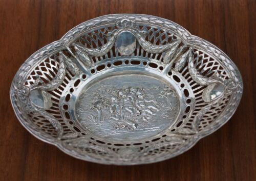 """Germany 800 Silver Repousse Openwork Reticulated 7.5"""" Oval Bowl ~ Cherubs"""