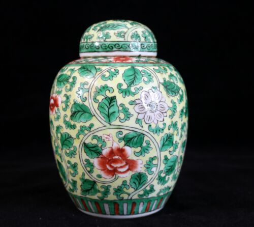 Antique Chinese Porcelain Famille Verte Yellow Ground Ginger Jar
