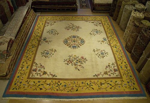 13 x 15 Beautiful Handmade Antique Spanish Decorative Vintage Rug From Early1900