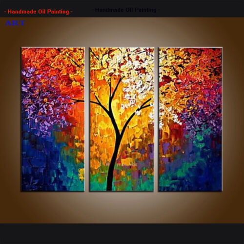 Modern Abstract Tree Colorful Oil Painting on Canvas Wall Art Framed Home Decor