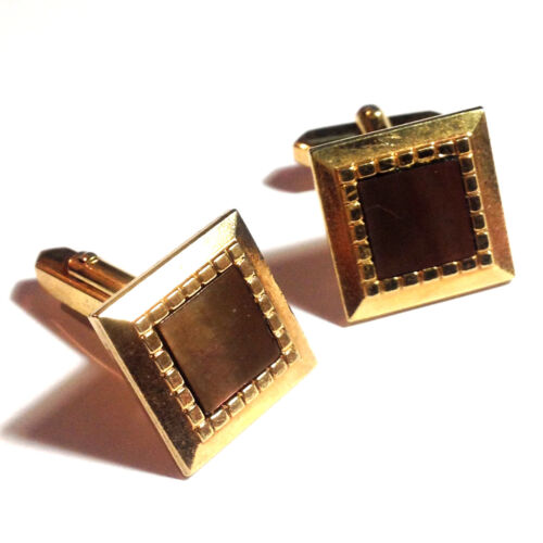 Vintage Mens Brown Mother of Pearl Gold Cuff Links Cufflinks