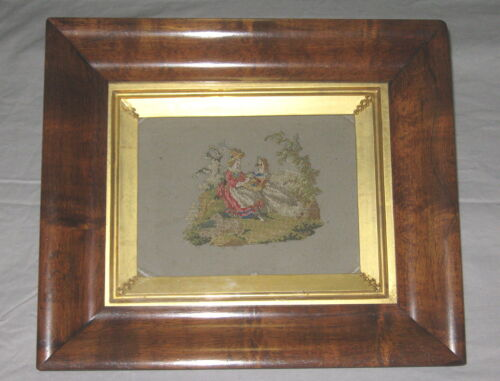 Antique Framed Georgian Screen Embroidery - Tapestry - Colonial - Gilt - Sampler