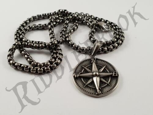 Stainless Steel Compass Pendant and Necklace 60cm chain Navy sailor pirate