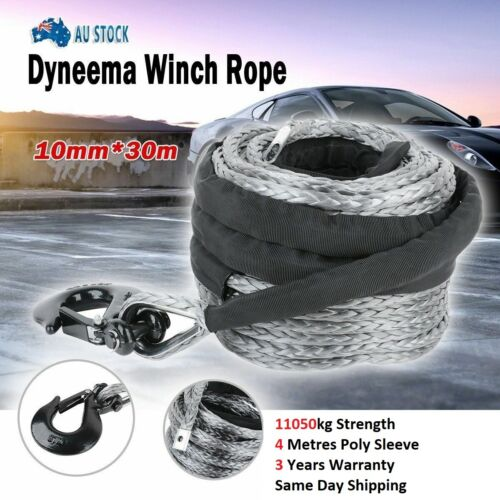 Winch Rope 10MM x 30M Dyneema SK75 Hook Synthetic Car Tow Recovery Cable <br/> 10950kg rated-2m x 2m Sleeve-Total 4m-Same Day Shipping