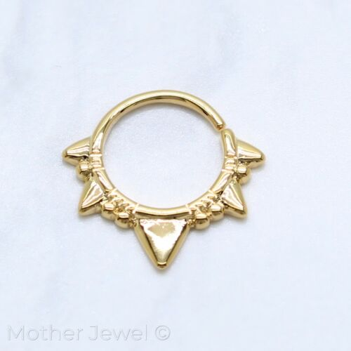 EDGY TRIANGLE 14K YELLOW GOLD IP NOSE SEPTUM CARTILAGE BENDABLE SEAMLESS RING