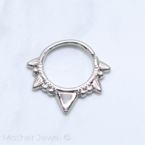 EDGY TRIANGLE SILVER SURGICAL STEEL NOSE SEPTUM CARTILAGE BENDABLE SEAMLESS RING