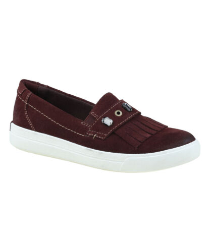 Earth Origins MABEL Womens Merlot Cow Suede Comfort Slip On Loafers Shoes