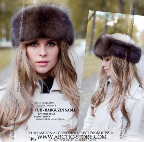 495626a07bd9a Barguzin Sable Russian Hat Shapka Roller Queen Style Deer Golden Suede Top