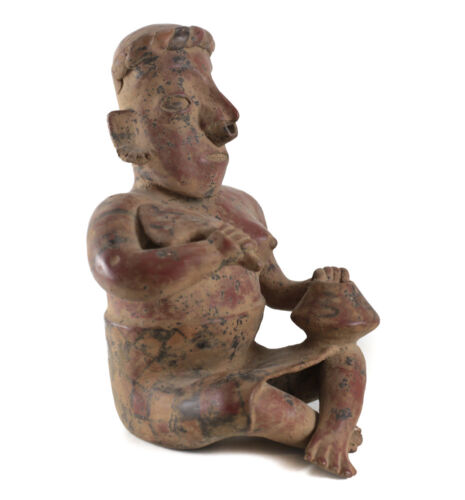 Pre-Columbian NAYARIT Pottery Seated Woman with Bowl and fan