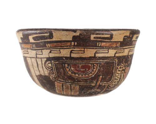 Pre Columbian MAYAN Polychrome Pottery Cupador Bowl Banded Museum mark