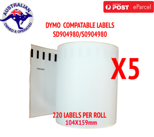 5x Compatible Dymo 4XL Extra Large Shipping Labels SD0904980 220 roll 104x159mm