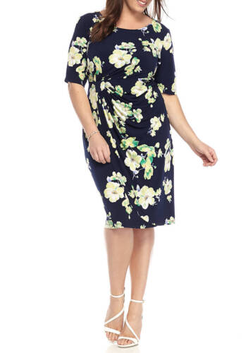 a80a09387c5 NWT CONNECTED NAVY BLUE FLORAL CAREER SHEATH DRESS SIZE 18 W 20 W WOMEN  98
