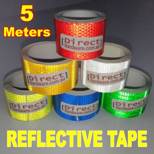 5 Meter Roll Reflective Tape Fluro Vehicle Safety Hi-Vis - 3M Adhesive 50mm Wide
