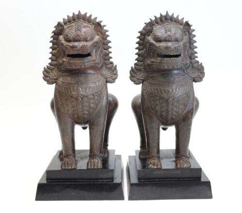 Pair of Thai Singha Guardian Lions in Bronze, on wood plinth. Fine details