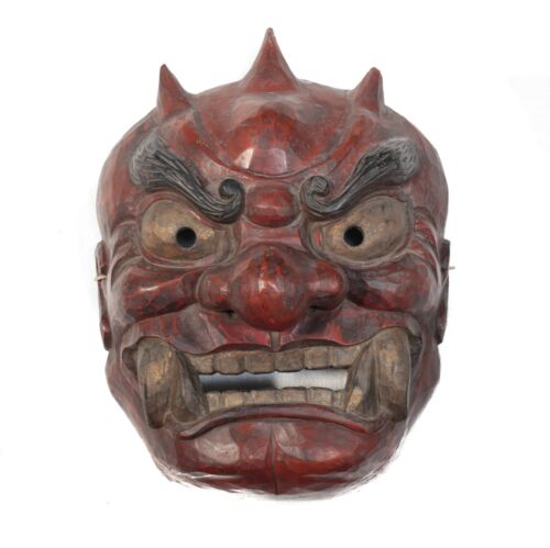 Monumental Japanese Shikami Oni Noh Mask, Red black and gold pigments gesso wood