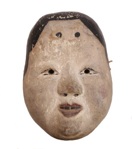 Japanese Okame Kyogen Onna Noh Female Mask, polychrome pigments gesso on wood