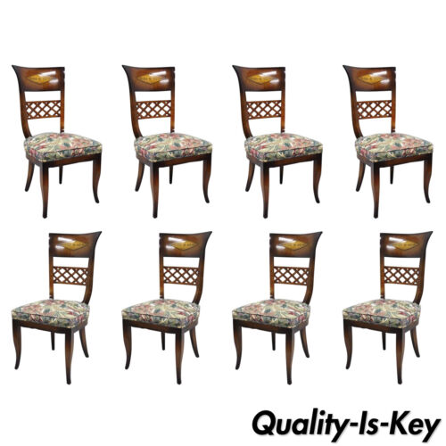 8 Italian Neoclassical Style High Back Lattice & Brass Inlay Dining Chairs