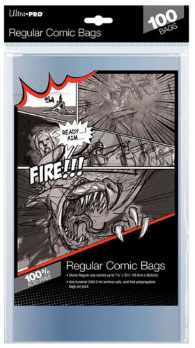 Ultra PRO Regular Size Comic Bags Sleeves Protectors 100ct 180 x 266mm