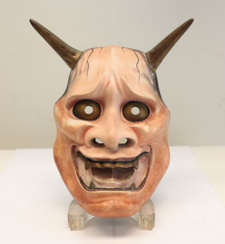 Japanese Ja / Hannya Noh Mask, Polychrome, Very fine sculpt, gold eyes