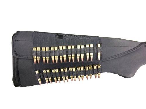 Rifle Ammo Cartridge Buttstock Holder Cover - Holds 30 rim fire bullets - BLACKHolsters, Belts & Pouches - 73963