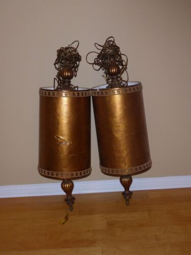 Pair Gold Mid Century SWAG HANGING LAMPS Light w Chain