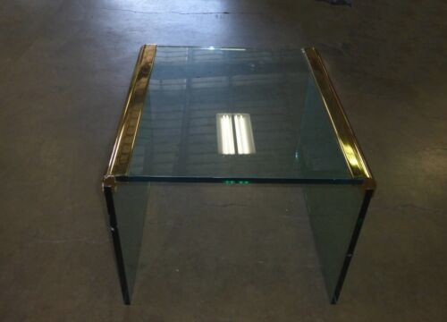 PACE COLLECTION By Leon Rosen Vintage Brass & Glass END TABLE Coffee Table