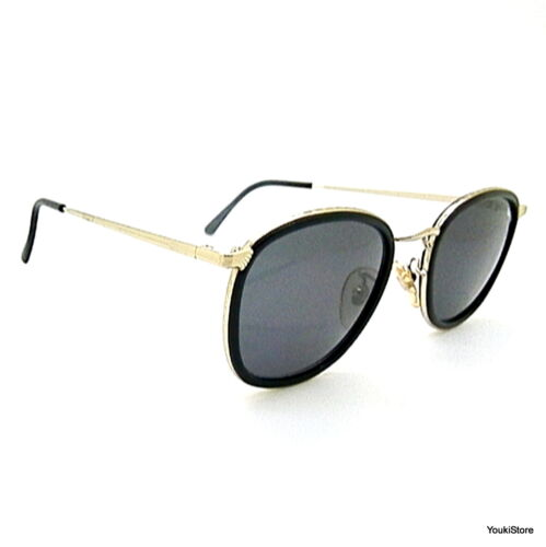 SALICE occhiali da sole vintage '80 metal gold/black grey lenses SUNGLASSES NEW