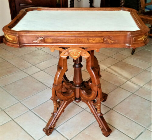 Antique MARBLE TOP Table GOOD CONDITION Victorian Walnut & Burl Walnut, 1880s
