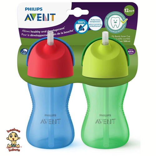 Avent My Bendy Straw Cup, 10 oz, Blue, 2 Pack, Authentic and Brand New BPA Free