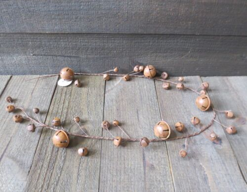 Rusty Barn Star Twine & Rust Jingle Bell Garland Primitive Country Holiday Decor