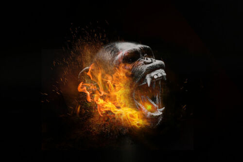 Modern Wall Art Canvas Print Painting Fantasy flame gorilla Pictures Home decor